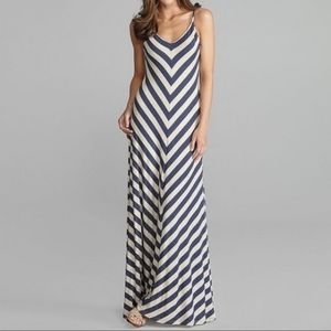 Matty M Blue Chevron Striped Jersey Maxi Dress M